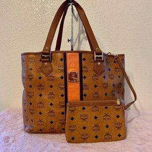 MCM Cognac Brown Authentic Medium Shoulder Bag wit